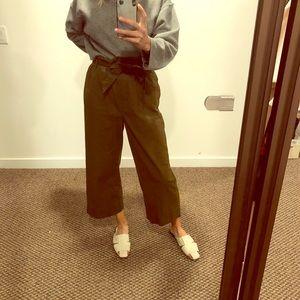 H&M Dark Khaki Green High Waist Paper-bag Pants